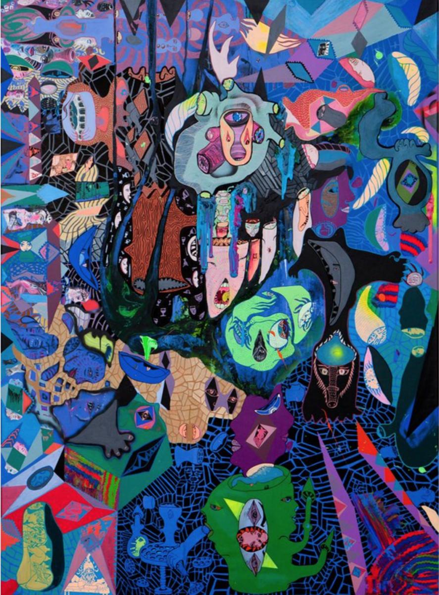 Ida Kvetny, Tell Tale Heart, Acrylic, spray, pencil, 200 x 150 cm, 2011.
