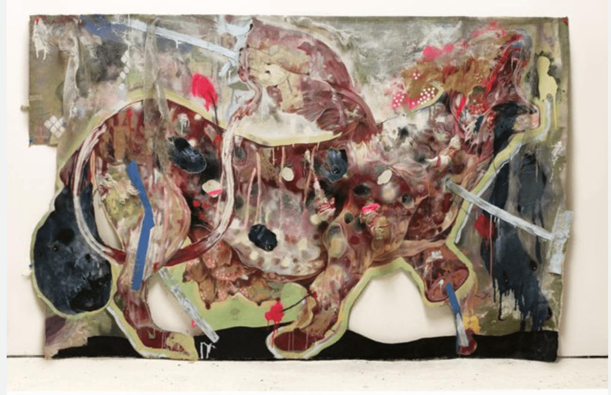 Lavar Munroe, On Deaf Ears, acrylic, latex house paint, spray paint and shivs on cut canvas, 46 x 72 inches, 117 x 183 cm, 2013.