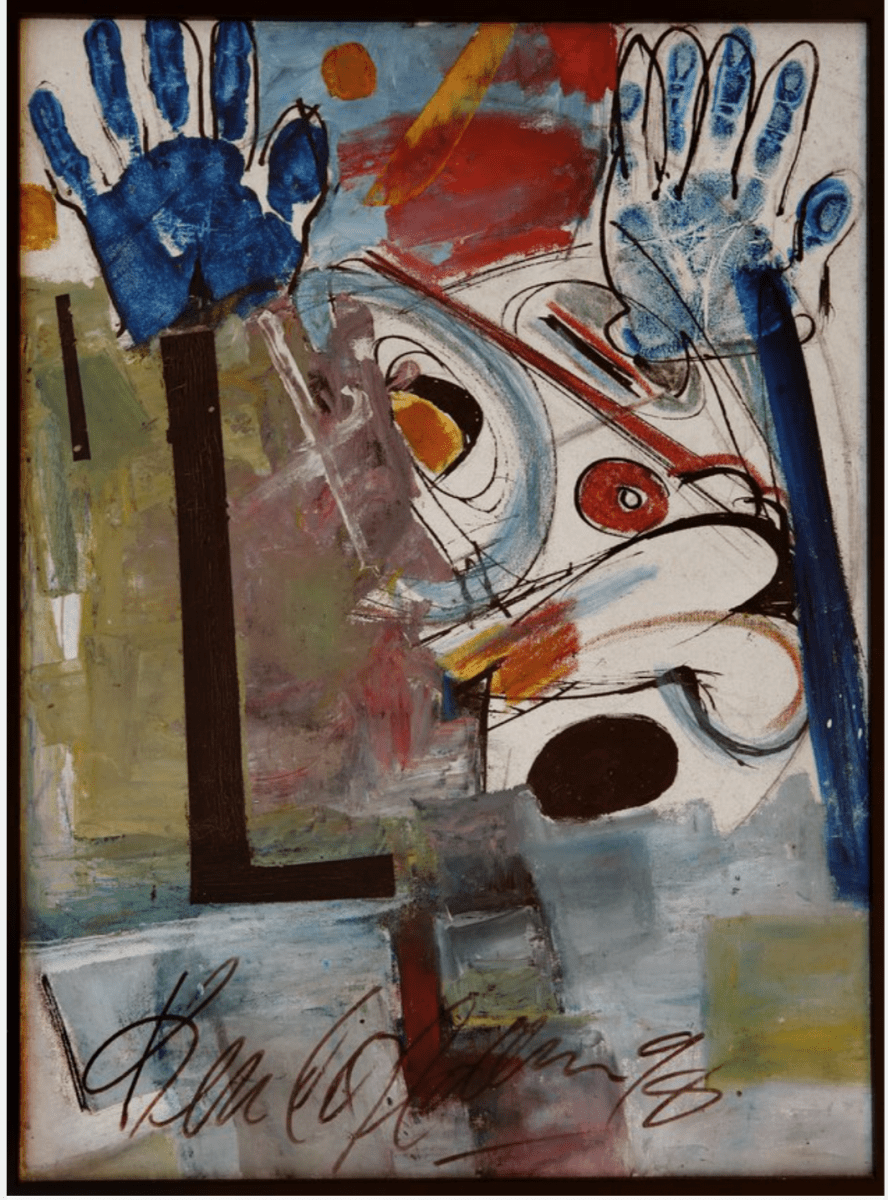Kendal Hanna, Praises, mixed media on canvas, 20 x 19 inches, 1998.