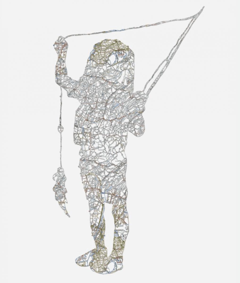 Nikki Rosato, Untitled (Childhood Portrait), hand cut road map, 47 x 27 inches, 2011.
