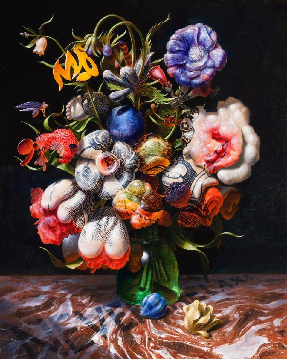 Christian Rex van Minnen_Around Blacks, Never Relax with Tulips_2014_Oil on linen_20 x 16 in_51 x 41 cm