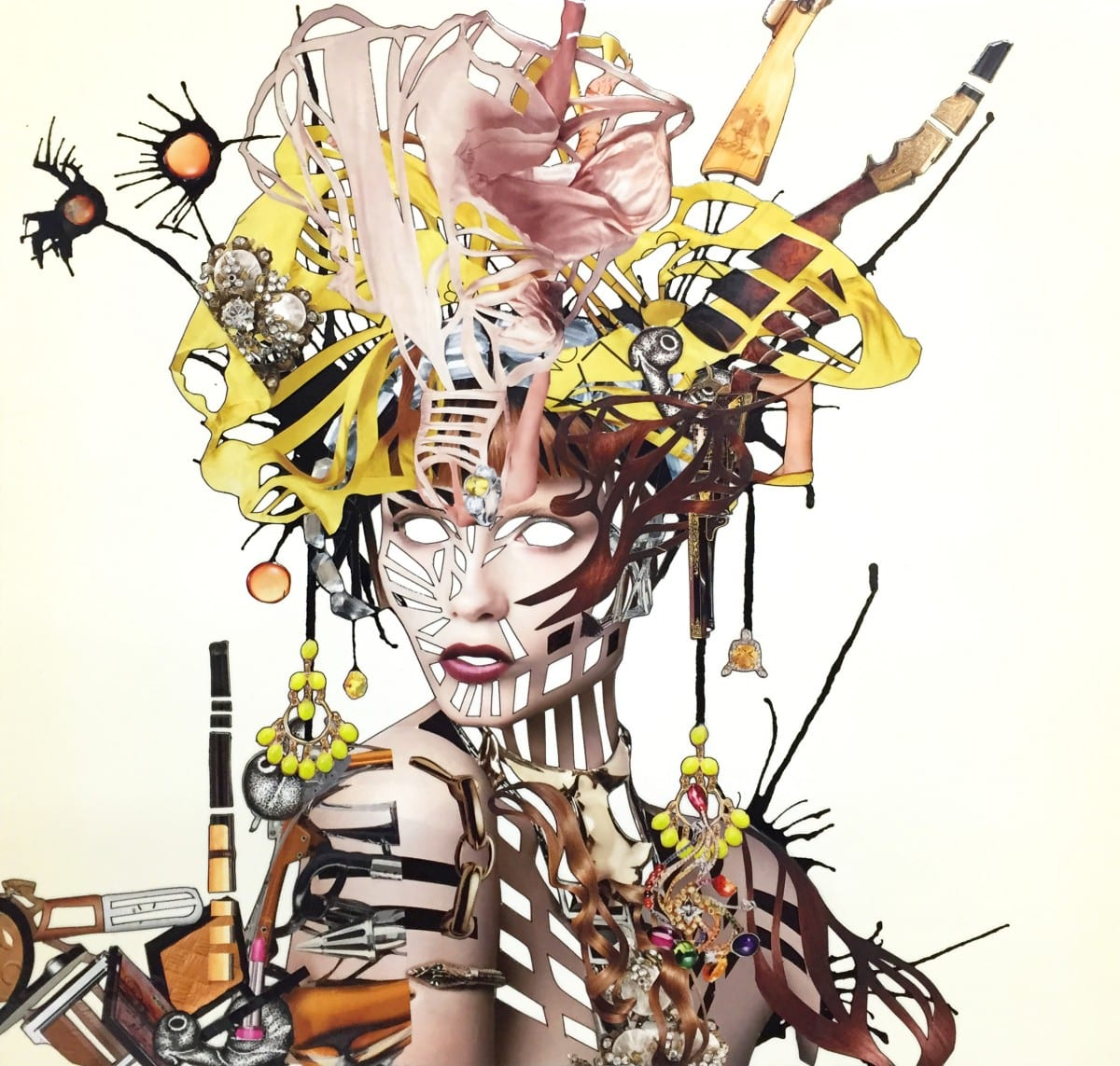 Debra Hampton_Nostalgic Head Huntress_2014_magazine cut out, archival prints, adhesive, ink, watercolor, and paper mounted on panel with varnish_16 x 16 in_40.5 x 40.5 cm_2278