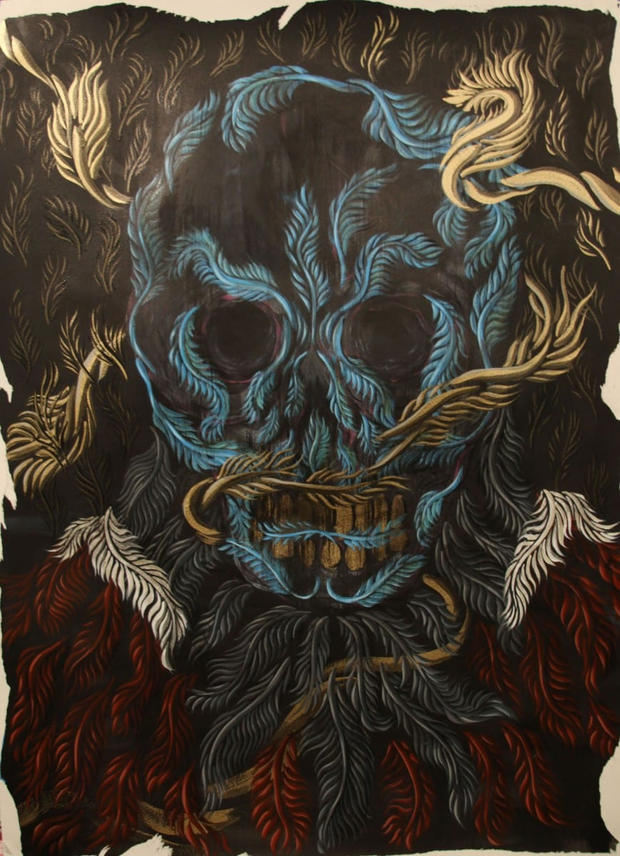 Isaac Arvold, Kings are dead, acrylic on archival paper, 2015.