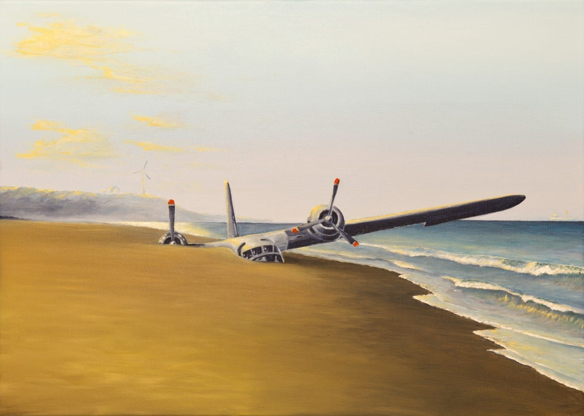"""Jacob Dahlstrup, Plane, oil on linen, 20"""" x 27.5"""", 2015."""
