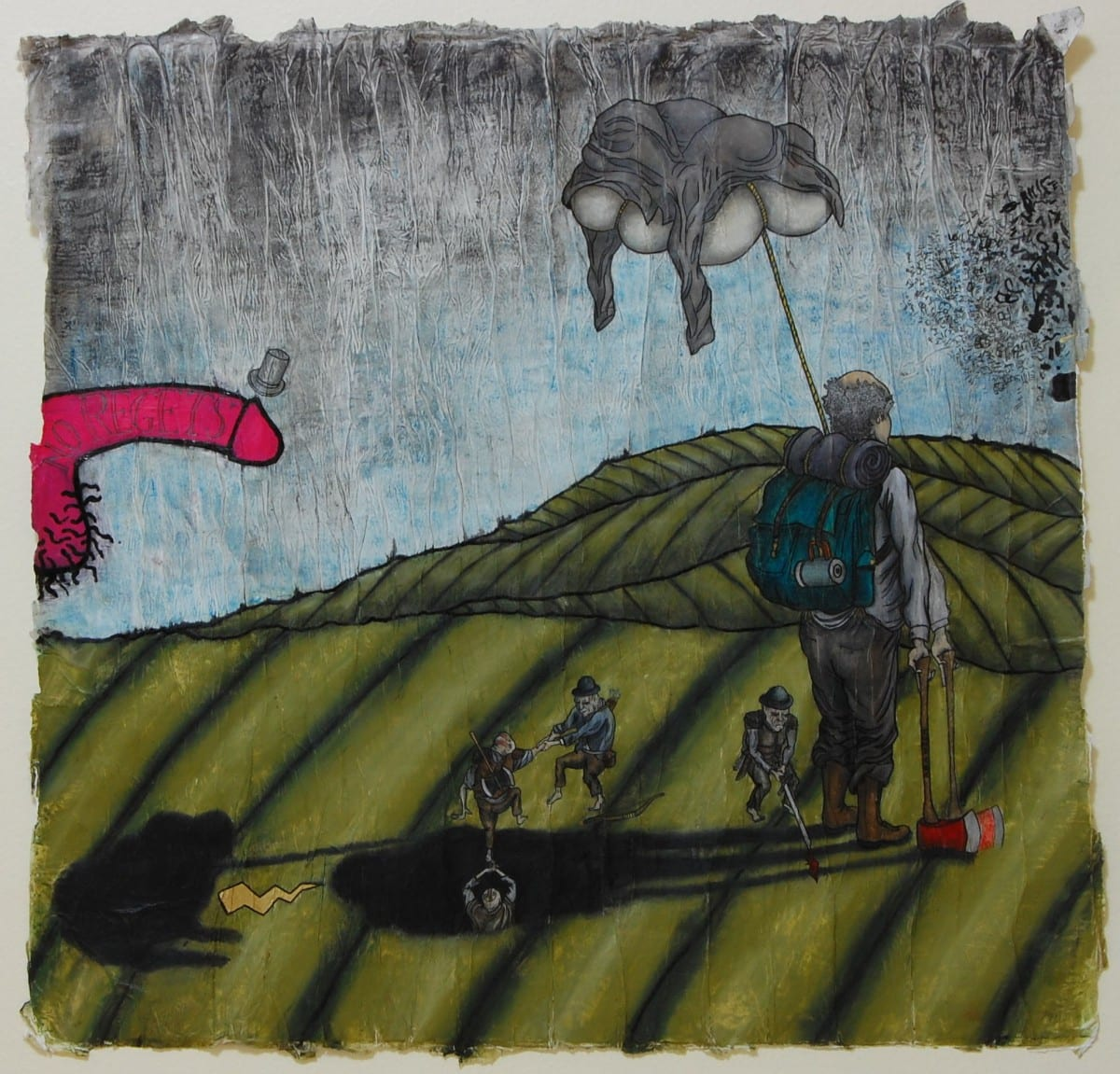 """Jake Townsend, The ballad of terrible on top- No regrets. graphite, pastel, prism color, oil and ink on paper, 24"""" x 23"""", 2015."""