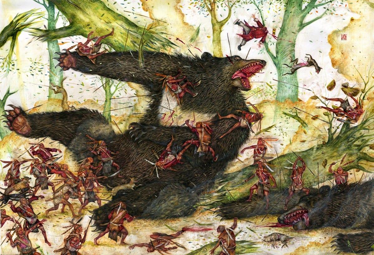 Mu Pan_Asiatic Black Bears_2014_acrylic on paper_30 x 40 in_76 x 102 cm_2000