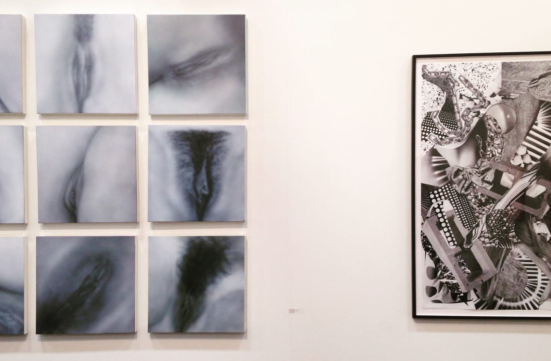 Left: Betty Tompkins Pussy Painting Grid.. Acrylic on canvas. 16 x 16 inches each (of 9),  2011-13.   Courtesy of the artist and Louis B. James, New York Right: Fay Ray Bow, Hair, Block. Archival inkjet prints, sumi ink and polyvinyl acetate. 40 x 30 inches, 2015.   Courtesy of the artist and Louis B. James, New York