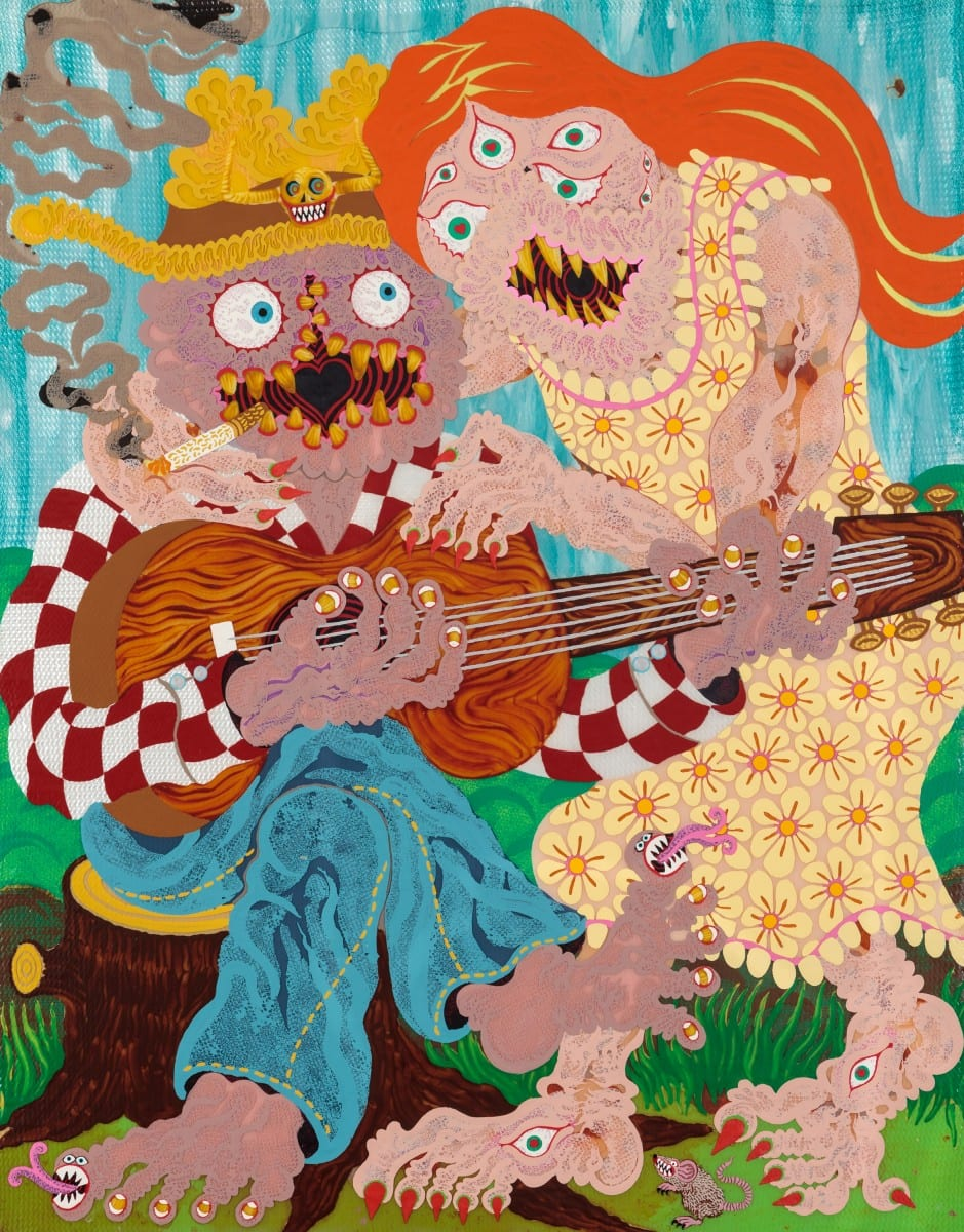 "Aaron Johnson, This old guitar, acrylic on polyester knit mesh, 28"" x 22"", 2014."