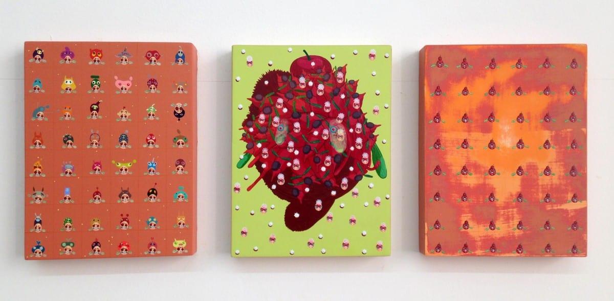"Mi Ju, Germs, acrylic on panel, 8"" x 6"", 2015."