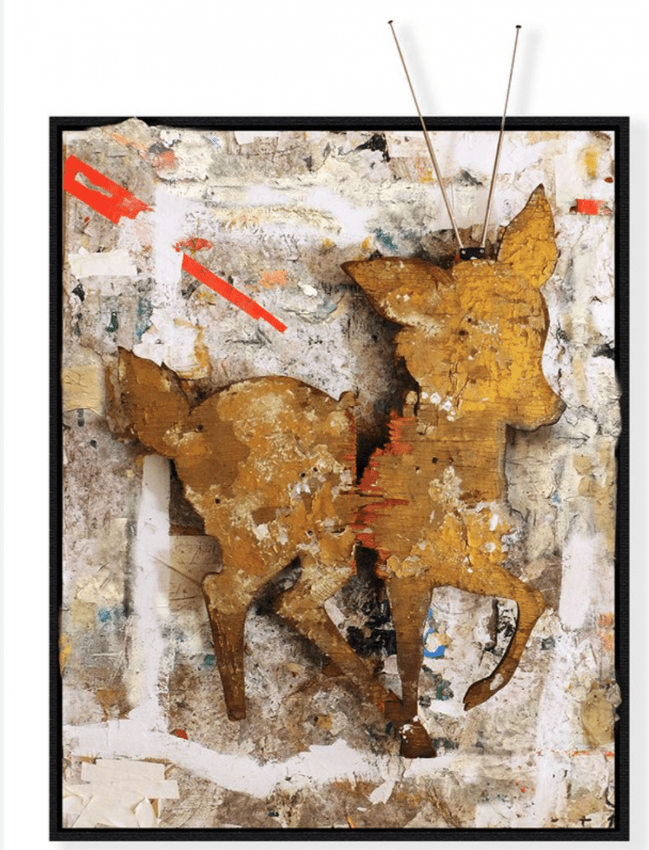 Greg Haberny, Broken Television, mixed media on wood, 50 x 40 x 7 inches, 2015.