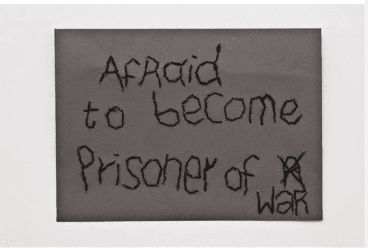 Batia Shani, Afraid to become prisoner of war, embroidered envelope, 13.2 x 18.4 cm, 2015.