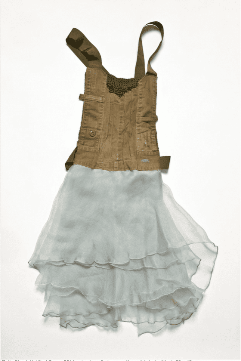Batia Shani, Untitled Dress, mixed media (army uniform, fabric, knitting), 80 x 45 cm, 2014.