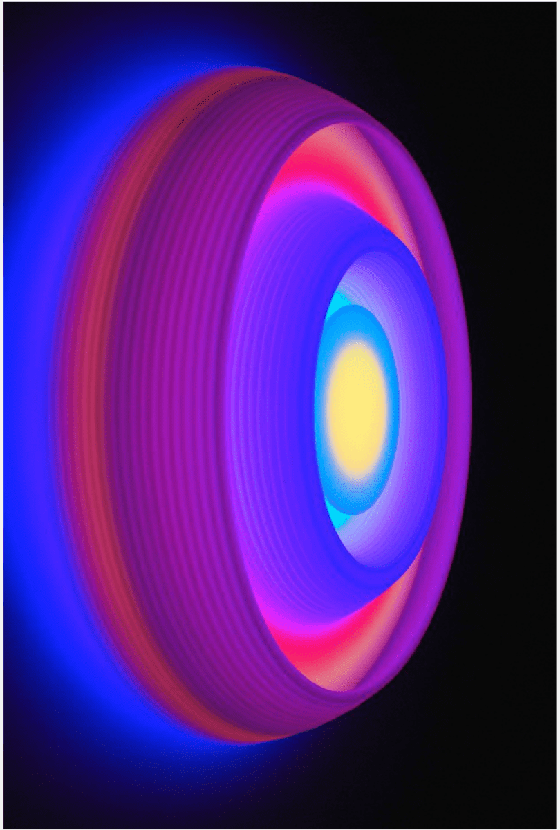 Phillip K Smith, III, Torus 9, (side view), acrylic, plywood, LED lights, custom electronic components, 46 x 46 x 8.8 inches
