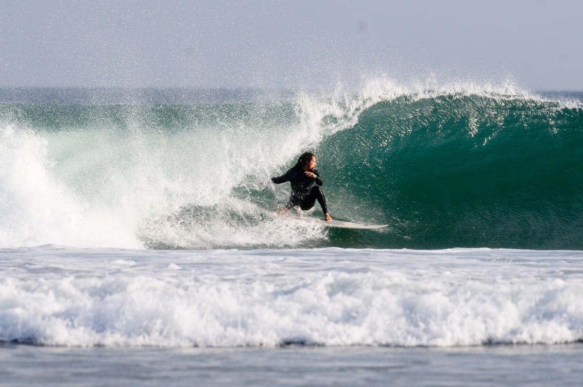 The waves are so prefect you can just lean back and get barreled! Well sort of.... Jared Aufrichtig easing into it. Photo by Kevin Moncayo.
