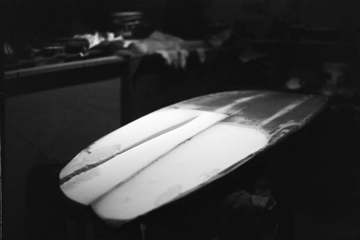 Shaped Aloha Finless Surfboard ready for a hot-coat! Photo by Jared Aufrichtig.