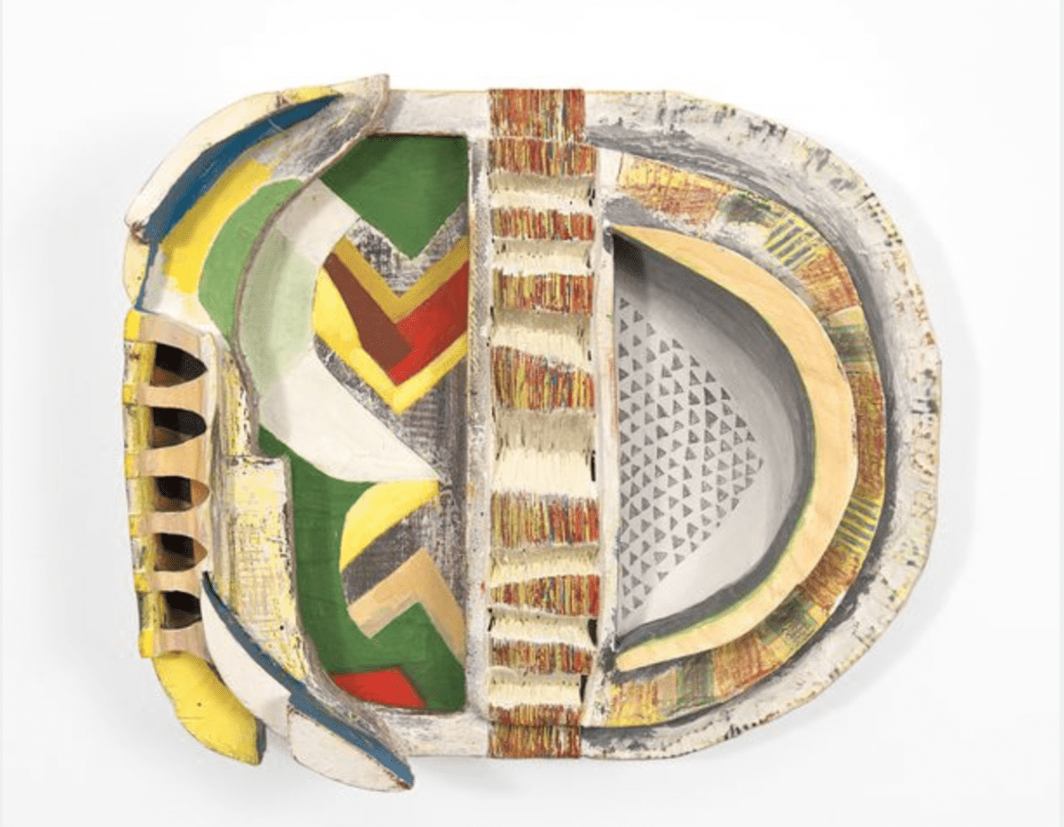 """Becca Lowry, L'hiver, mixed media on carved wood, 12.25"""" x 14"""" x 4.25,"""" 2015."""