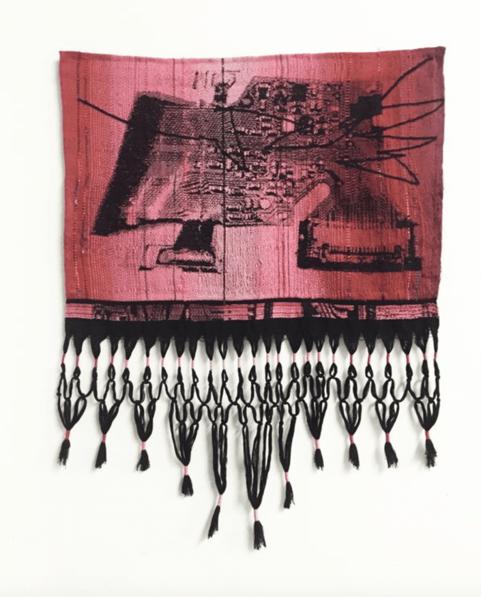 "Robin Kang, Quetzalcoatl SSD with Scratch, Hand Jacquard woven cotton and synthetic fibers, 24 1/2"" x 32"" Robin Kang, Quetzalcoatl SSD with Scratch, 2016, Hand Jacquard woven cotton and synthetic fibers, 24 1/2"" x 32,"" 2016."