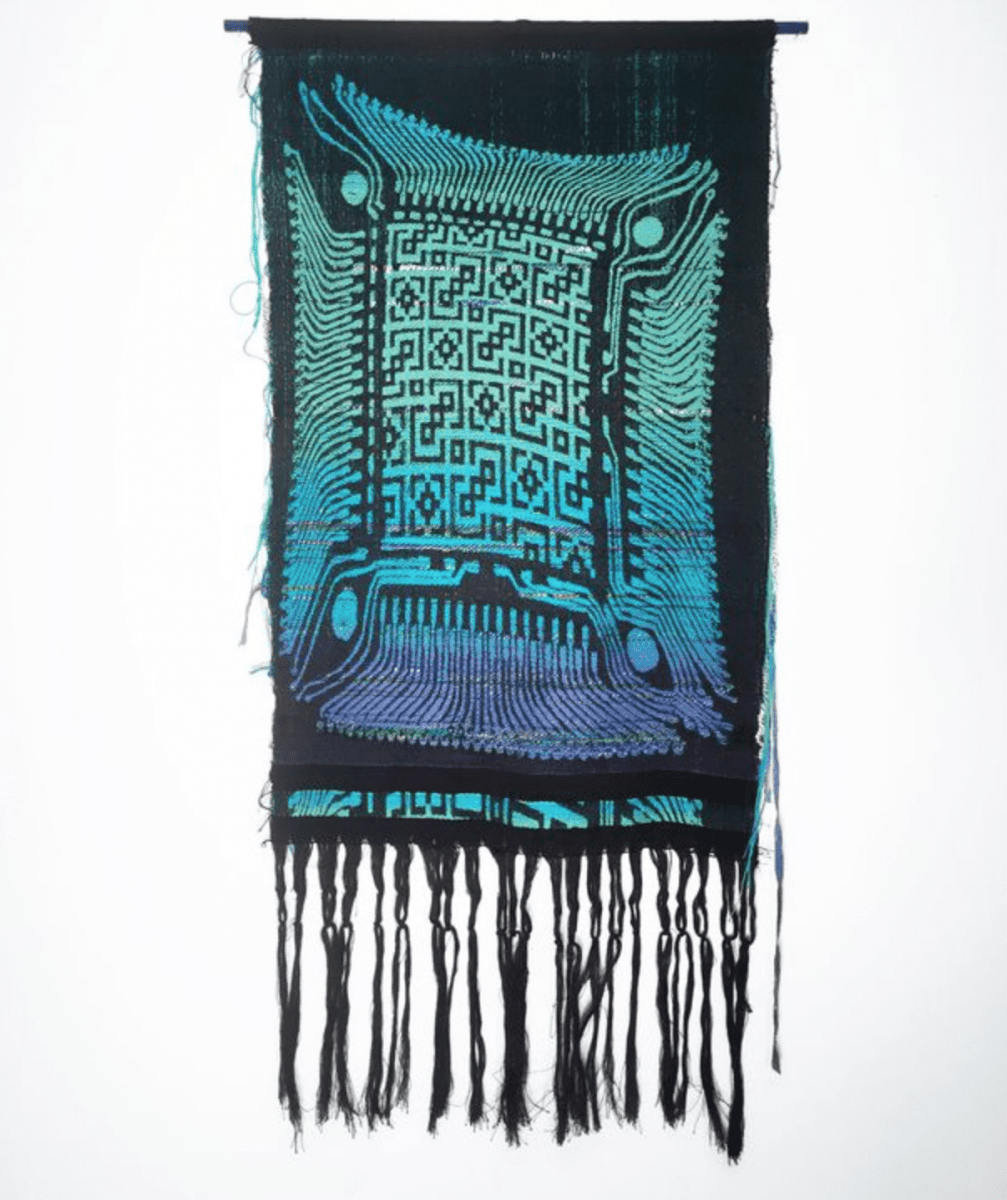 "Robin Kang, Optic Core 698,  Hand Jacquard woven cotton, hand dyed wool, synthetic fibers, 18"" x 38,"" 2015."
