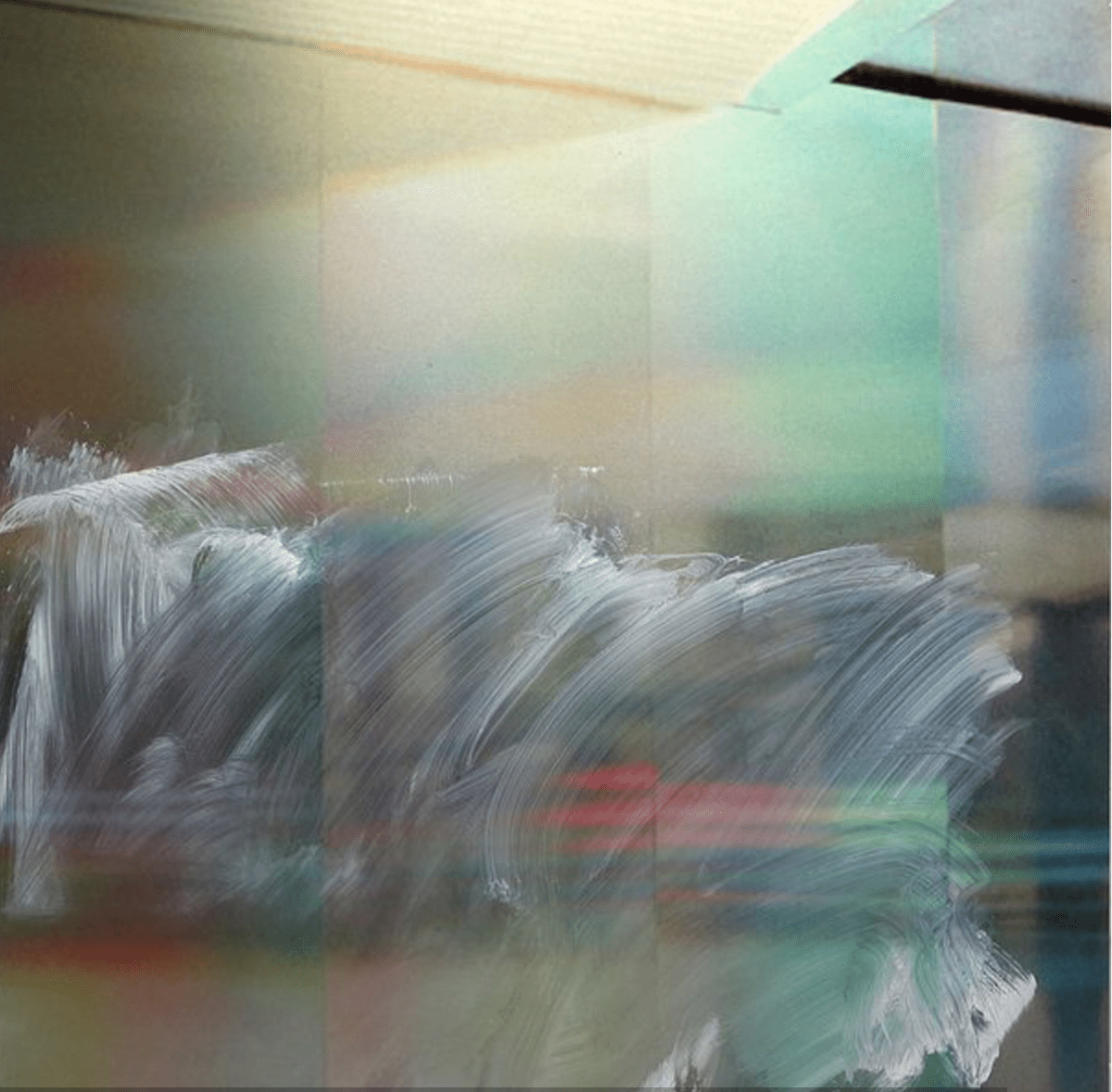 "Justine Frischmann, Lambent #74, oil, acrylic spray enamel over sublimation print on aluminum, 30"" x 30,"" 2015."