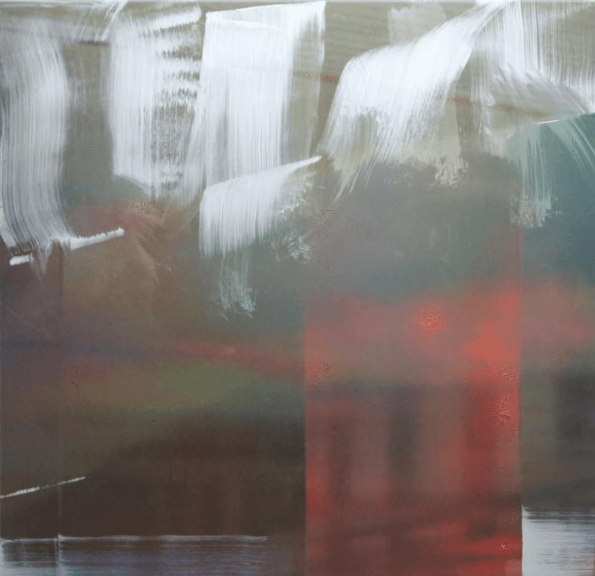 "Justine Frischmann, Lambent #83, oil, acrylic spray enamel over sublimation print on aluminum, 40"" x 40,"" 2016."