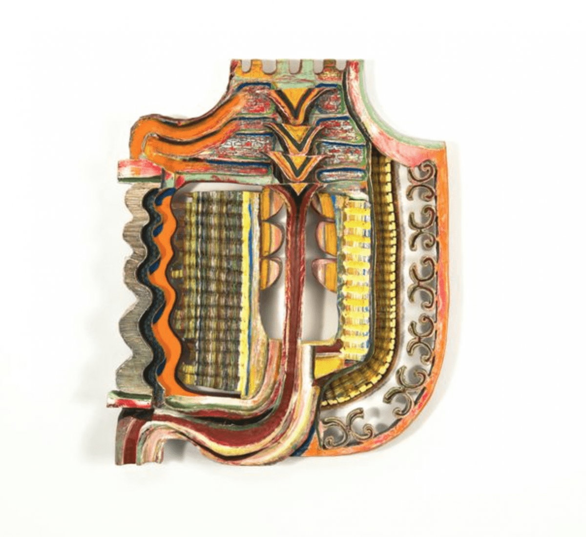 """Becca Lowry, Call Me King,  mixed media on carved wood, 22.5"""" x 18.25"""" x 3.25,"""" 2015."""