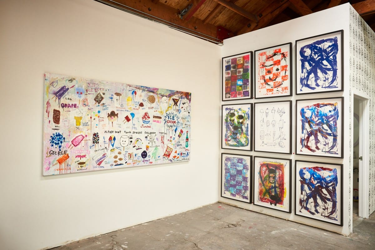 "Gregory Siff, Children Don't Touch Stickers, 48"" x 96,"" 2016.  Photo by Jared Clatworthy."