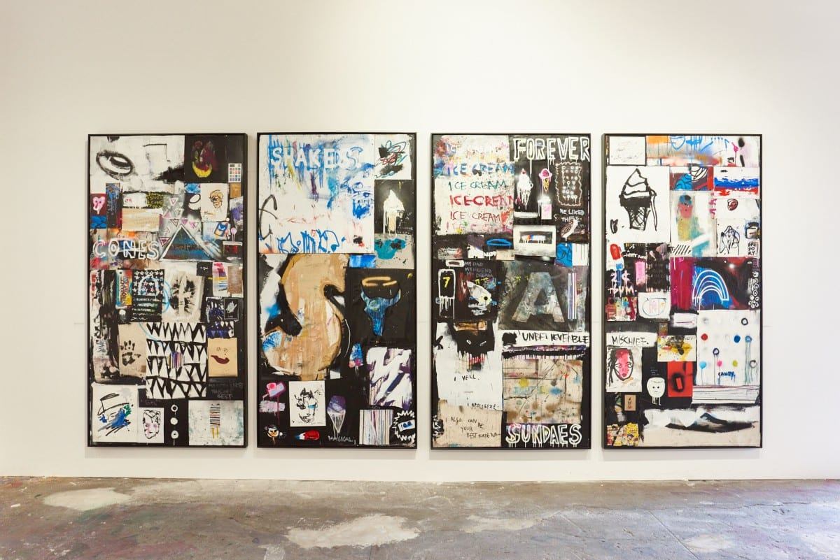 """Gregory Siff, Untitled Combine 1, mixed media on panel, 97.25"""" x 49.25,"""" 2016.  Photo by Jared Clatworthy."""