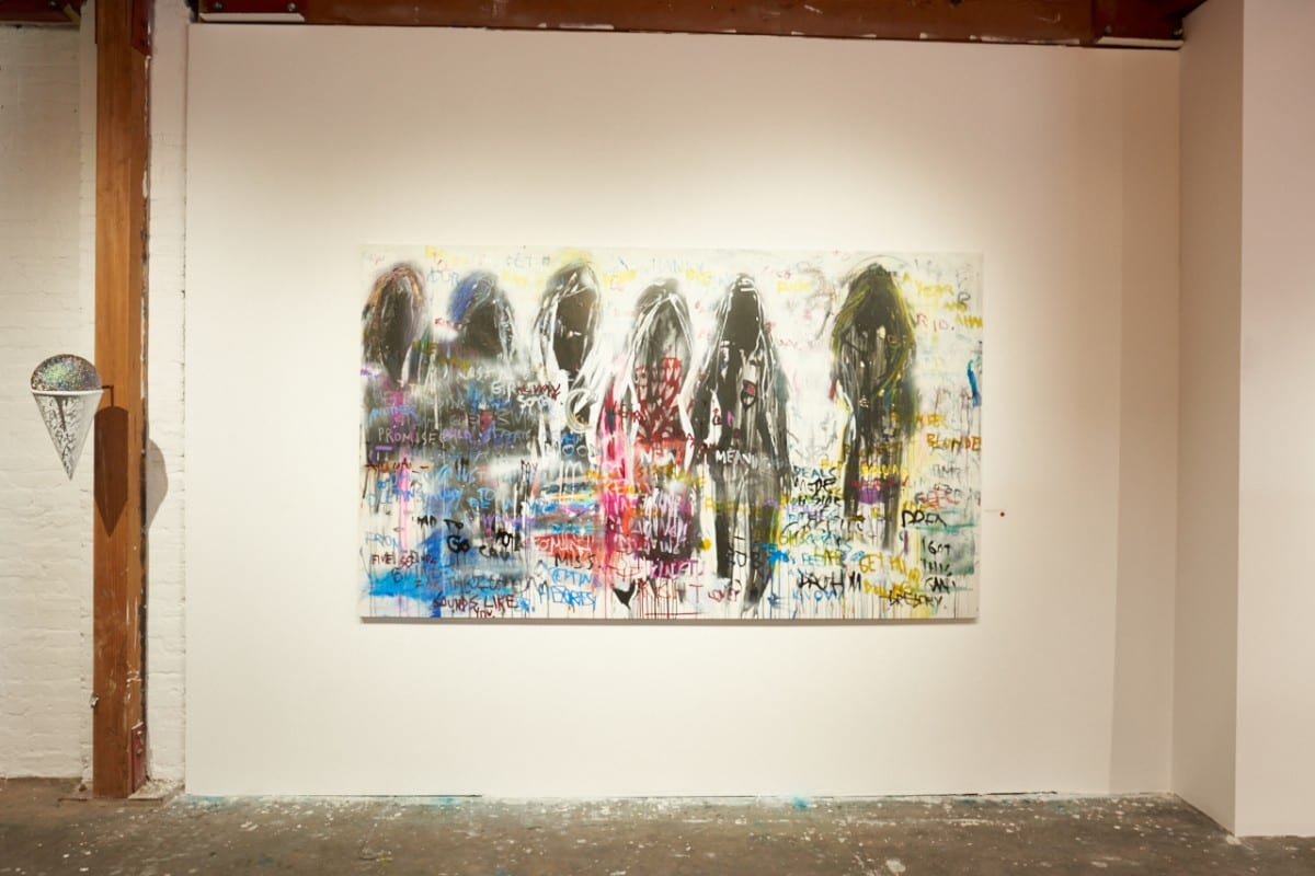 "On the left:  Michael Johnson x Gregory Siff, You're All I Need, 18"" x 9"", 2016.  On the right:  Gregory Siff, Deals, acrylic, ink and marker on canvas, 60"" x 101,"" 2016.  Photo by Jared Clatworthy."