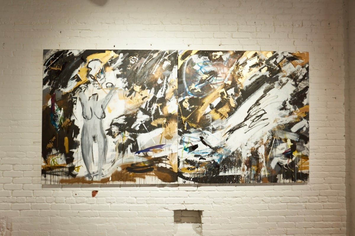 """On the left:  """"Every Girl You Haven't Met Yet,"""" acrylic, ink and gold leaf on canvas, 60"""" x 60"""", 2016.  On the right:  """"Run,"""" acrylic, ink and gold leaf on canvas, 60"""" x 60,"""" 2016.  Photo by Jared Clatworthy."""