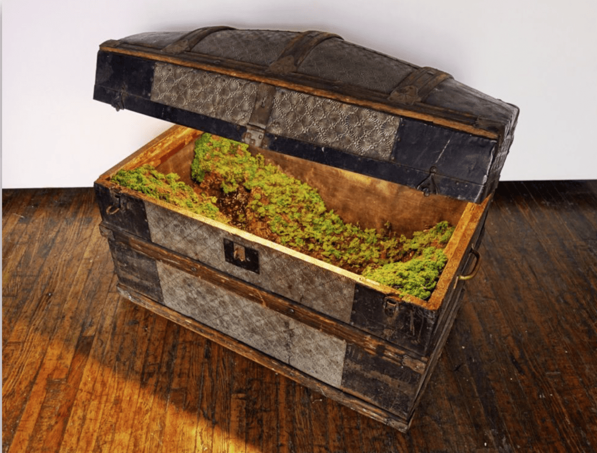Kathleen Vance, Roundtop Steamer, 2017, Vintage steamer trunk, resin, stones, soil, water, artificial foliage, 34 x 30 x 19 in.  Image © of the artist