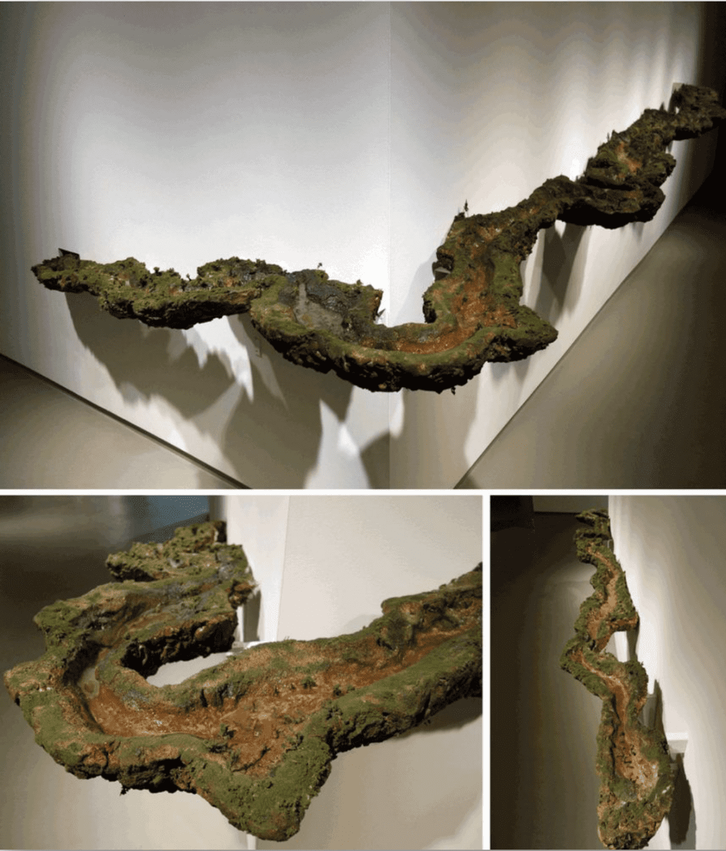 Kathleen Vance, St. Johns River (installation view), 2016, Resin, polymer clay, water, soil, 24 x 36 x 5 in. approx. (variable dimensions)