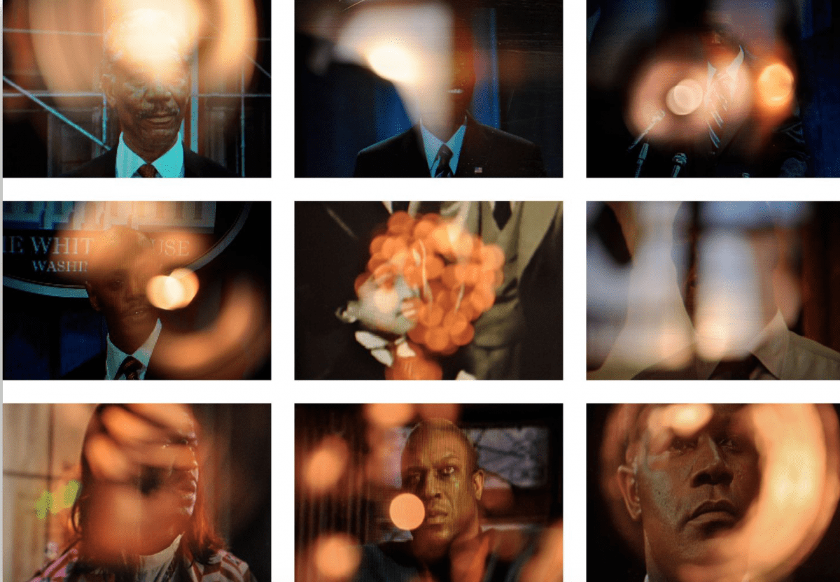 Zachary Fabri, Aureola (Dave Chappelle Jr.), from series 'Aureola (Black Presidents)', 2012, Digital C-print, 20 x 30 in. each (66 x 96 in. grid of nine).  Image © of the artist and ROCKELMANN &.