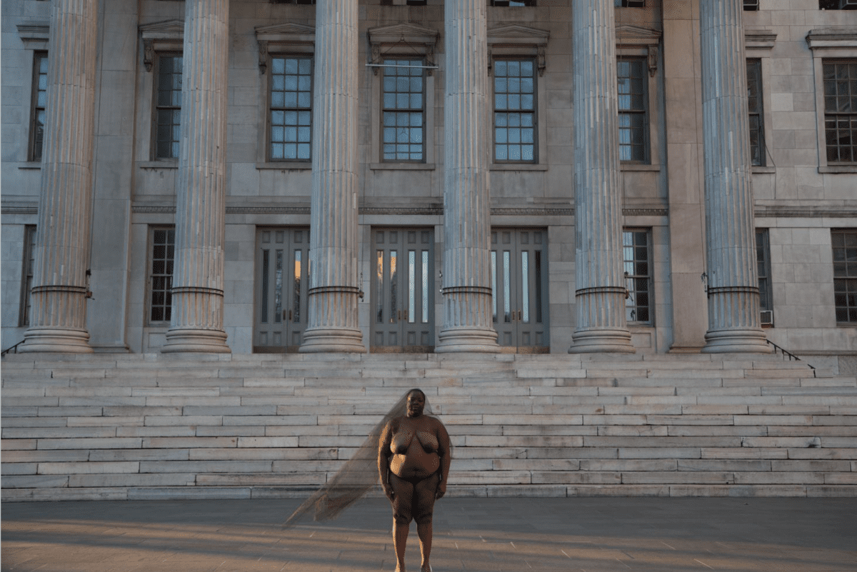 Nona Faustine, Lenapehoking, in the land of the Lenape, Borough Hall, 2016, Archival Pigment Print, 27 x 40 in.  Image © if the artist and Baxter St at CCNY.