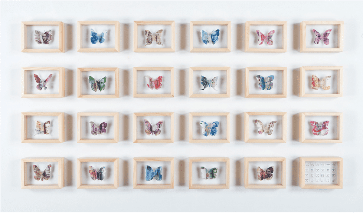 "Erika Harrsch ""Eurospecimen,"" 2011-2016, Archival ink print on cotton paper, cut-out and hand painted butterflies and entomological boxes, 23 of the boxes contain a euroespecimen and one box contains 23 pinned tags with information on each extinct specimen: the name of the currency, the country where it comes from and the day each one went out of circulation, 170 x 100 cm.  Image © of the artist and RoFa Projects"