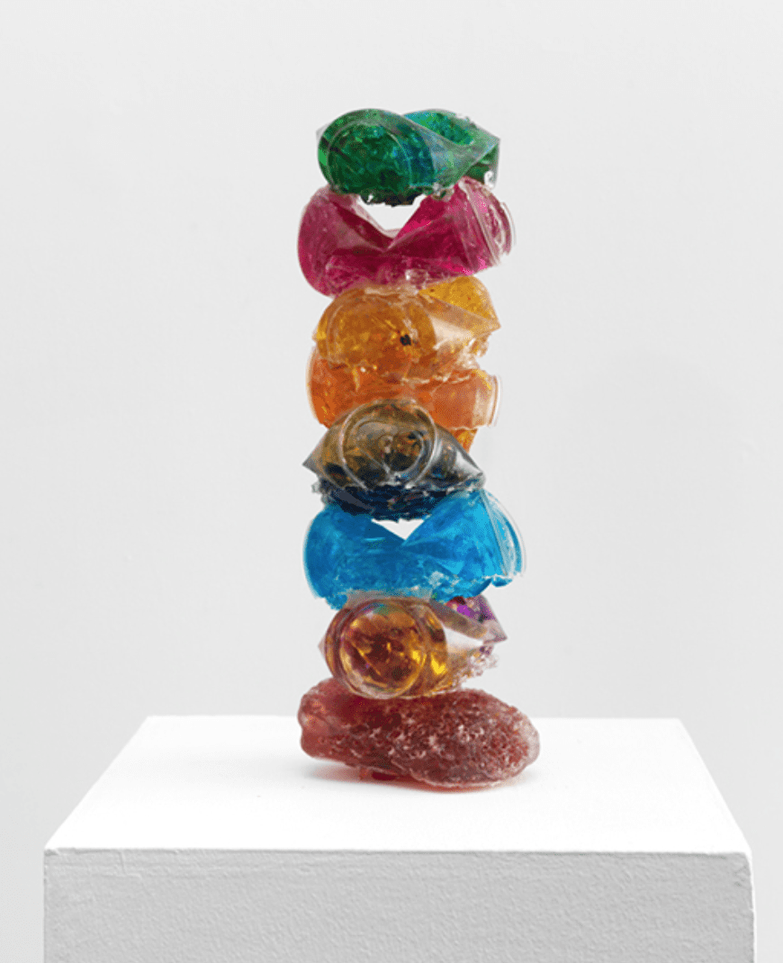 "Rachel Owens, ""7 Pack on a Roman Rock,"" 2017, Broken glass cast in resin, 14 1/2 x 5 x 5 in (36.8 x 12.7 x 12.7 cm).  Image © of the artist and ZierherSmith"