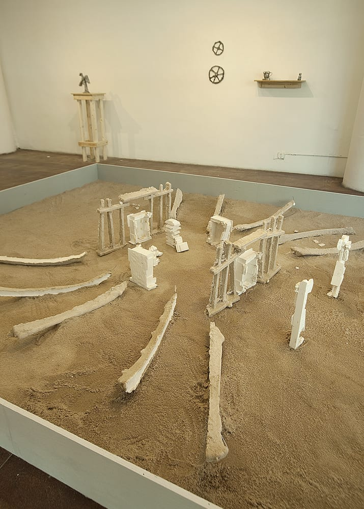 """""""The Map Room,"""" 2018, sand and hydrocal"""