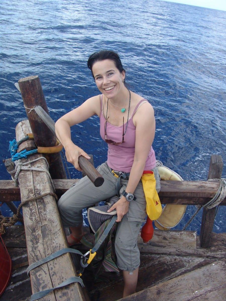 Danielle Eubank aboard Phoenicia, 2010. Credit: Yuri Sanada
