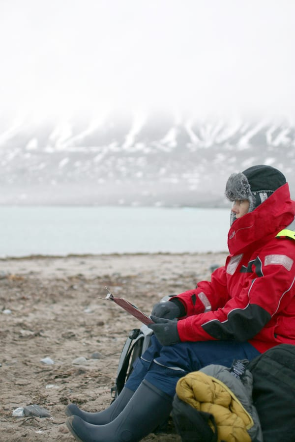 Danielle Eubank sketching in the High Arctic, 2014. Credit: unknown