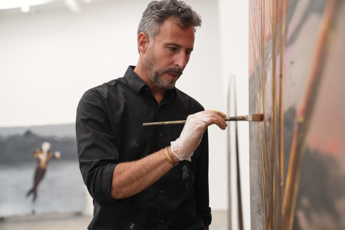 "Enrique Martínez Celaya working on ""The Promise of the Most Whole, 2019."" Image © Rainer Hosch."